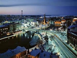 Fotos Finnland Haus Flusse Brücken Winter Schnee Von oben Tampere, province of Pirkanmaa Städte