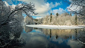 Pictures Finland Winter Rivers Forests Branches Karkkila