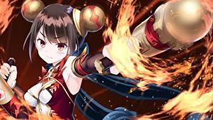 Bilder Flamme Braunhaarige  computerspiel Anime Mädchens