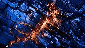 デスクトップの壁紙、、炎、クローズアップ、くすぶる石炭、