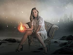 Fotos Feuer Magie Sessel Sitzen Bein Stöckelschuh Fantasy Mädchens
