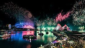 Hintergrundbilder Feuerwerk Australien Nacht Waterfront Sydney Opera House Städte