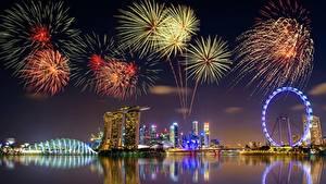 Hintergrundbilder Feuerwerk Singapur Nacht