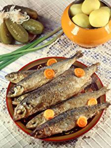 Fotos Fische - Lebensmittel Gurke Mohrrübe Teller Lebensmittel