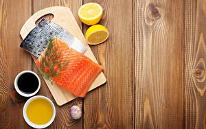 Fotos Fische - Lebensmittel Zitrone Knoblauch Dill Lachs Bretter Schneidebrett