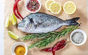 Images Fish - Food Spices Chili pepper Lemons Salt Food