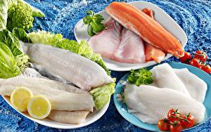 Bilder Fische - Lebensmittel Tomate Zitrone Teller Lebensmittel