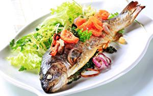Bilder Fische - Lebensmittel Gemüse Teller
