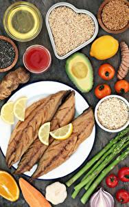 Hintergrundbilder Fische - Lebensmittel Gemüse Reis Tomate Zitrone Avocado Teller Getreide
