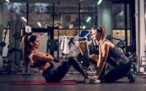 Hintergrundbilder Fitness Fitnessstudio Trainieren 2 ABS Mädchens