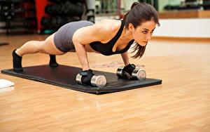 Hintergrundbilder Fitness Braunhaarige Trainieren Hanteln Liegestütz junge Frauen Sport