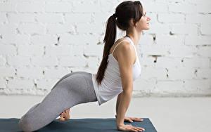 Hintergrundbilder Fitness Braunhaarige Trainieren Hand Mädchens Sport