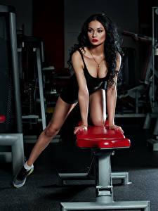 Fotos Fitness Brünette Mädchens Sport