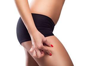 Desktop hintergrundbilder Fitness Finger Diät Shorts Hand Weißer hintergrund hips sportliches Mädchens