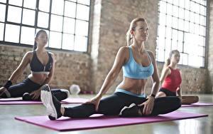 Bilder Fitness Fitnessstudio Körperliche Aktivität Drei 3 Sitzend Blondine Dehnübungen Sport Mädchens