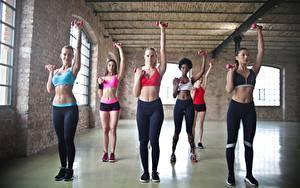 Fotos Fitness Turnhalle Trainieren Uniform Blond Mädchen Hand Bauch Hübsche Sport Mädchens