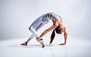Fotos Fitness Gymnastik Posiert Dehnübungen Hand Bein junge Frauen