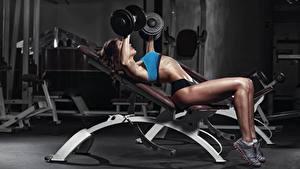 Hintergrundbilder Fitness Bein Hanteln Trainieren junge Frauen