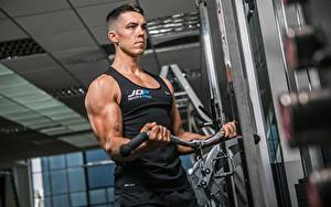 Picture Fitness Man Gym Workout Hands Muscle Sport