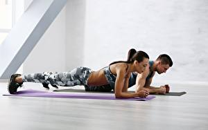 Photo Fitness Men Gym Physical exercise Pose Sport Girls