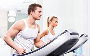 Hintergrundbilder Fitness Mann Lauf Unterhemd Sport Mädchens