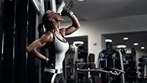 Hintergrundbilder Fitness Ausruhen Flasche Unterhemd Hand Unscharfer Hintergrund Handschuh Trinkt Wasser junge frau Sport