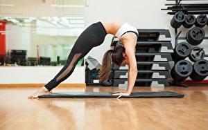 Hintergrundbilder Fitness Dehnübungen Mädchens