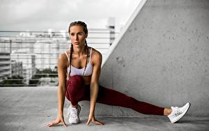 Fotos Fitness Dehnübung Hand Bein Posiert Zopf junge frau