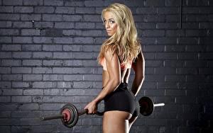 Fotos Fitness Mauer Aus backsteinen Blond Mädchen Blick Hand Hantelstange Shorts junge Frauen
