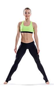 Bilder Fitness Weißer hintergrund Lächeln Bauch Mädchens Sport