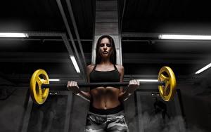 Hintergrundbilder Fitness Trainieren Brünette Blick Hand Bauch Hantelstange Mädchens