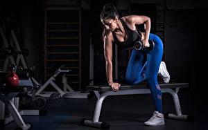Bilder Fitness Trainieren Brünette Hand Hantel Turnhalle Sport Mädchens