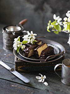 Desktop wallpapers Flowering trees Chocolate Dessert Boards Branches Food