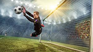 Bilder Fußball Torhüter Mann Ball Sprung Sport