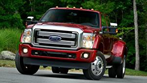 Hintergrundbilder Ford Pick-up Rot Vorne F-450, Super Duty Platinum Crew Cab, 2015 automobil