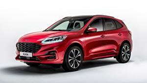 Fotos Ford Grauer Hintergrund Rot Metallisch Softroader Kuga ST-Line, 2019 Autos
