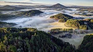 Bilder Wälder Tschechische Republik Parks Hügel Nebel Von oben Bohemian Switzerland National Park Natur
