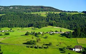 Desktop hintergrundbilder Wald Grünland Schweiz Hügel Dorf Balsthal, Solothurn, Tal County Natur