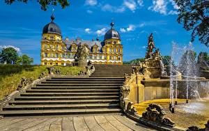 Images Fountains Germany Stairs Palace Memmelsdorf Seehof Palace Cities