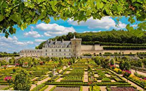 Hintergrundbilder Frankreich Burg Garten Weintraube Design Strauch Ast Chateau and Gardens of Villandry Natur Städte