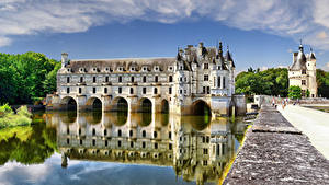 Wallpaper France Castle Pond Chenonceau castle, Loire Castles Cities