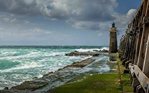 Hintergrundbilder Frankreich Küste Leuchtturm Wolke Capbreton