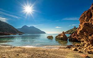 Hintergrundbilder Frankreich Küste Gebirge Himmel Sonne Corsica