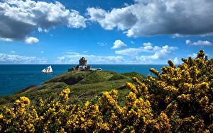 Fotos Frankreich Küste Himmel Festung Wolke Brittany, Fort La Latte Natur