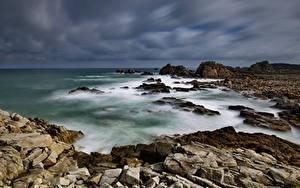 Bilder Frankreich Küste Stein Wolke Bretagne