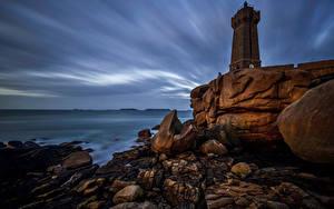 デスクトップの壁紙、、フランス、海岸、石、灯台、岩石、Cote de Granit Rose, Brittany, Ploumanac'h, Mean Ruz、