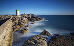 デスクトップの壁紙、、フランス、海岸、石、灯台、Pointe de Trevignon、自然