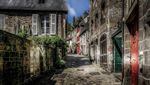 Bilder Frankreich Haus Stadtstraße Zaun HDRI Dinan Brittany Städte