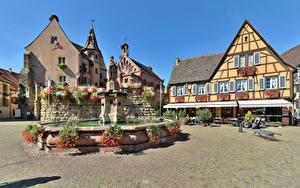 Desktop wallpapers France Houses Fountains Sculptures Street Eguisheim Cities