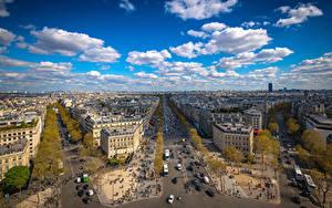 Fotos Frankreich Gebäude Himmel Paris Stadtstraße Wolke Von oben Place Charles de Gaulle